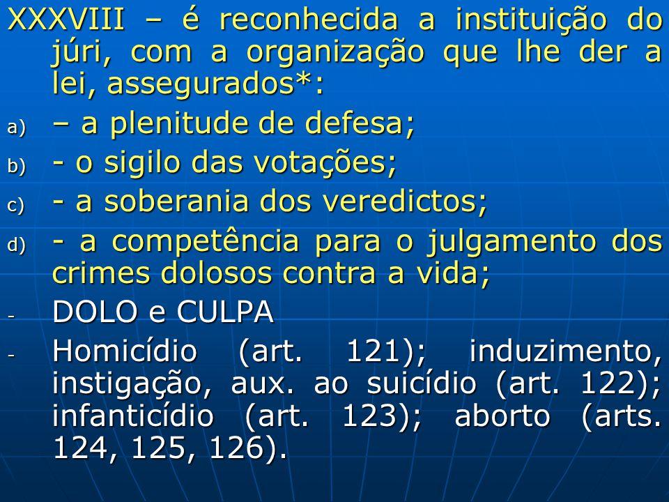 XXXVIII – é reconhecida a instituição do júri, com a organização que lhe der a lei, assegurados*: