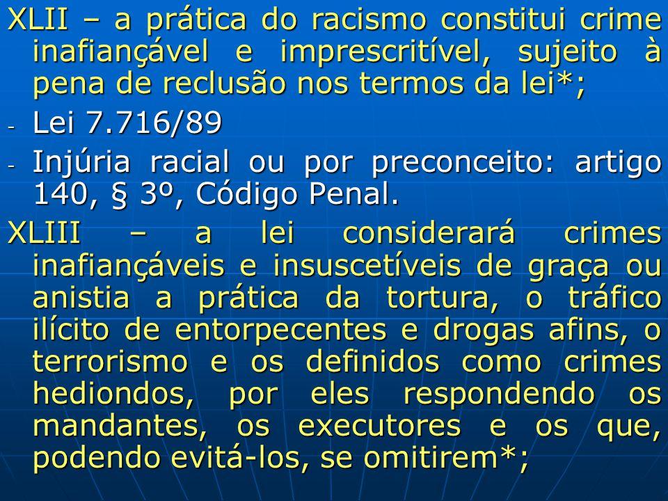 XLII – a prática do racismo constitui crime inafiançável e imprescritível, sujeito à pena de reclusão nos termos da lei*;