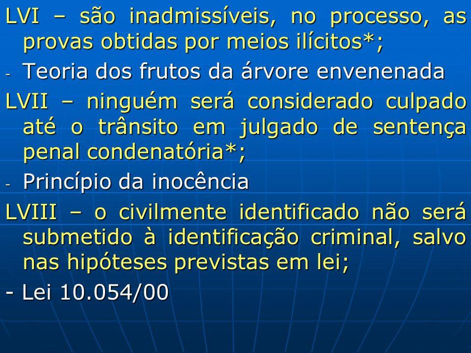 LVI – são inadmissíveis, no processo, as provas obtidas por meios ilícitos*;