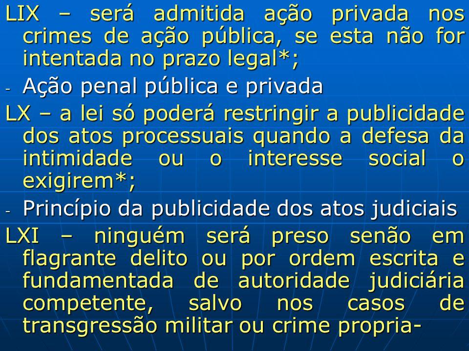 LIX – será admitida ação privada nos crimes de ação pública, se esta não for intentada no prazo legal*;