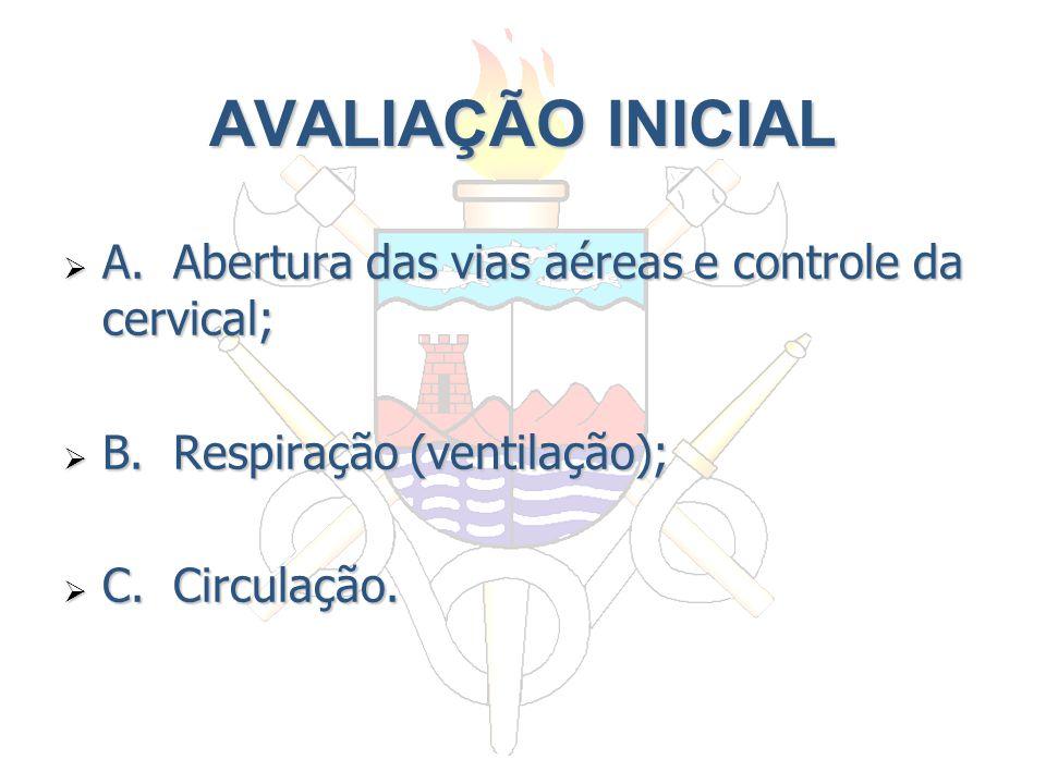 AVALIAÇÃO INICIAL A. Abertura das vias aéreas e controle da cervical;