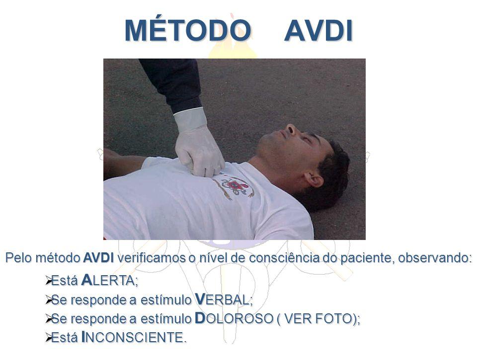 MÉTODO AVDI Pelo método AVDI verificamos o nível de consciência do paciente, observando: Está ALERTA;