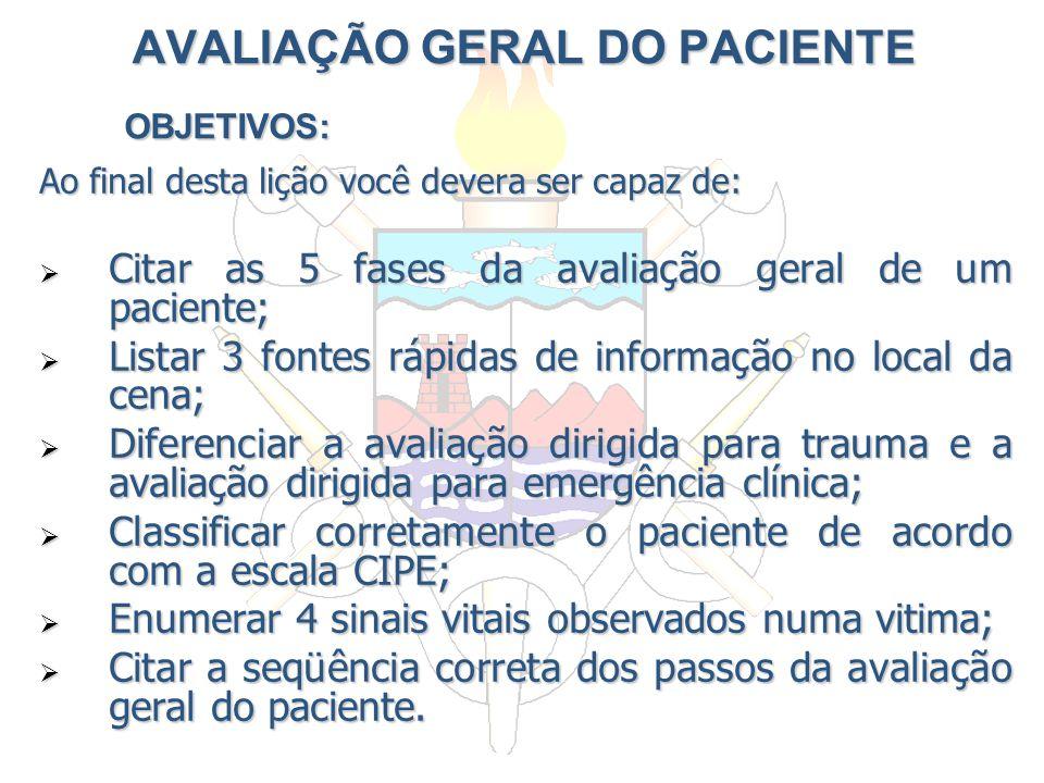 AVALIAÇÃO GERAL DO PACIENTE