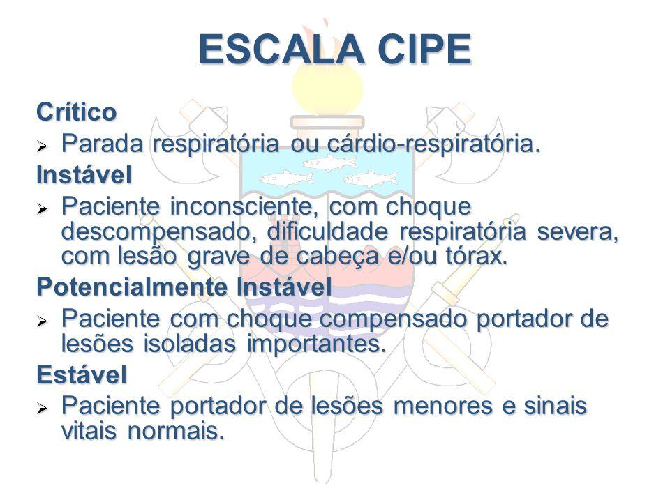 ESCALA CIPE Crítico Parada respiratória ou cárdio-respiratória.