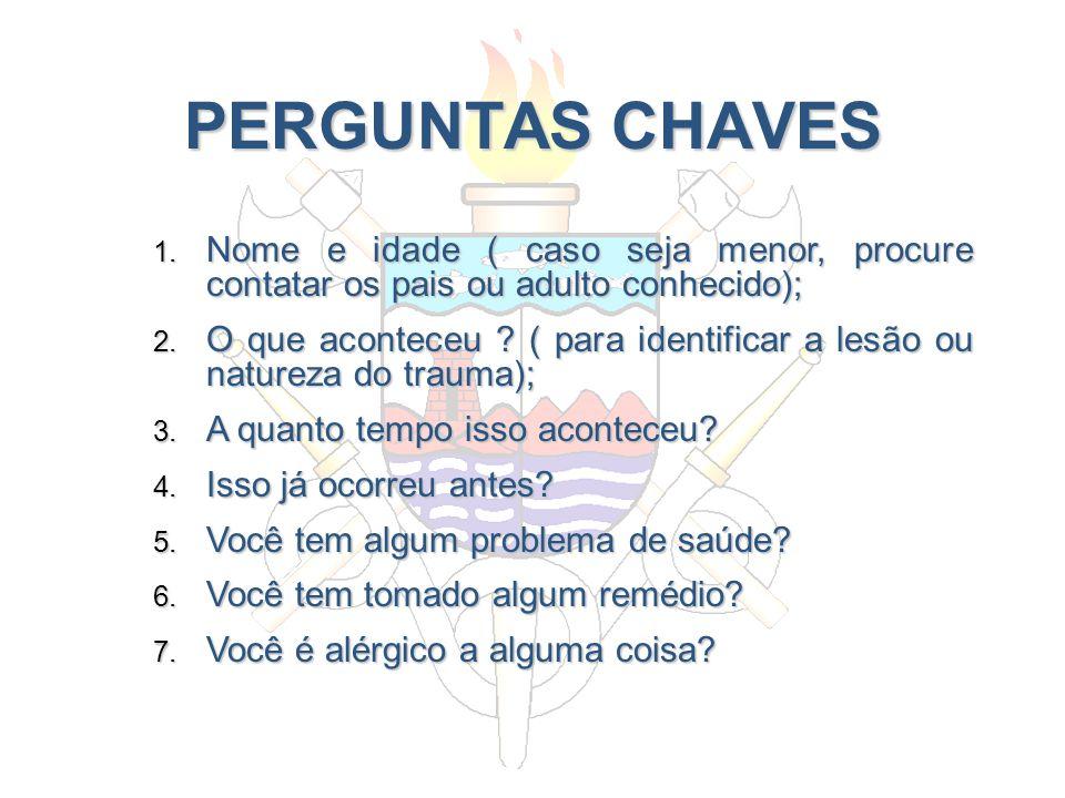 PERGUNTAS CHAVES Nome e idade ( caso seja menor, procure contatar os pais ou adulto conhecido);