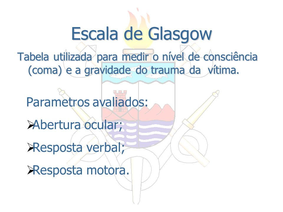 Escala de Glasgow Parametros avaliados: Abertura ocular;