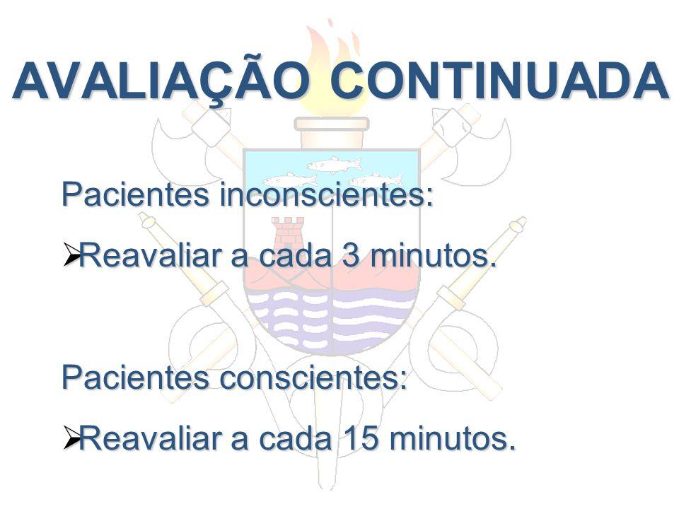AVALIAÇÃO CONTINUADA Pacientes inconscientes: