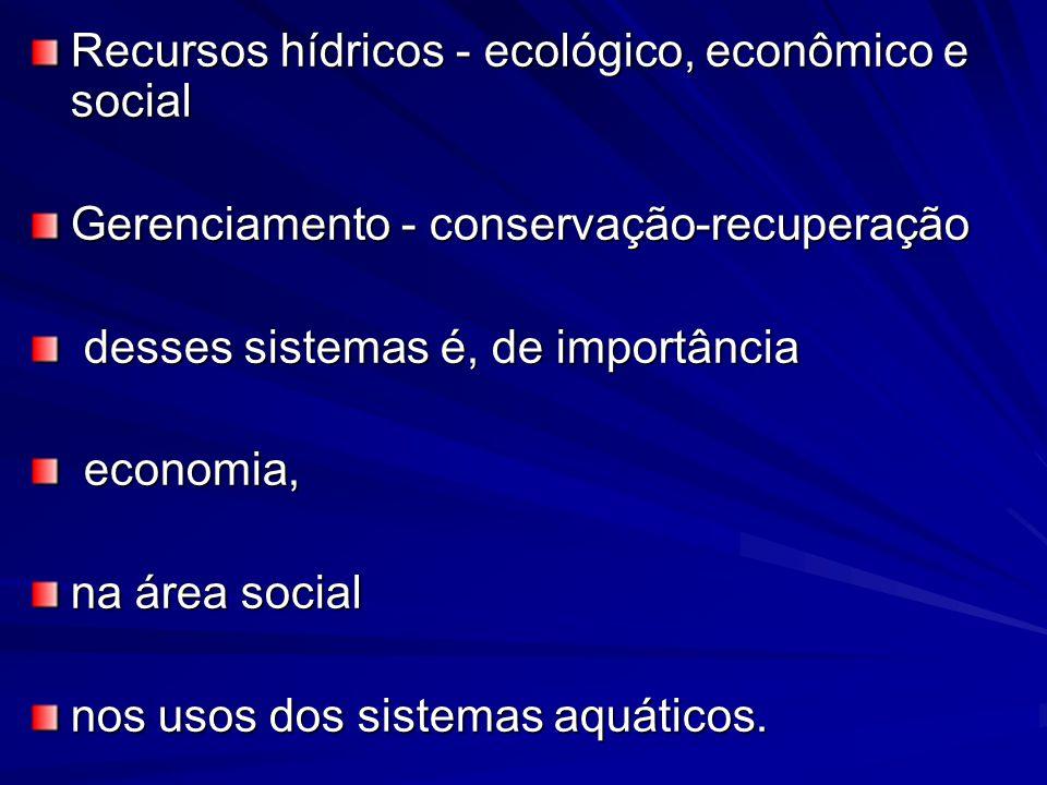 Recursos hídricos - ecológico, econômico e social