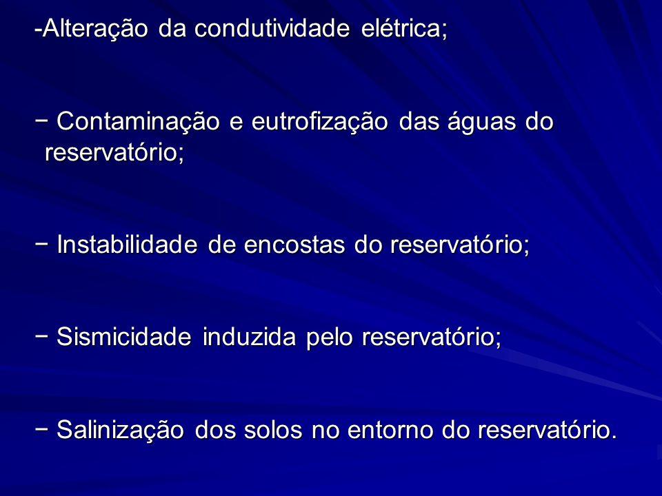 -Alteração da condutividade elétrica;