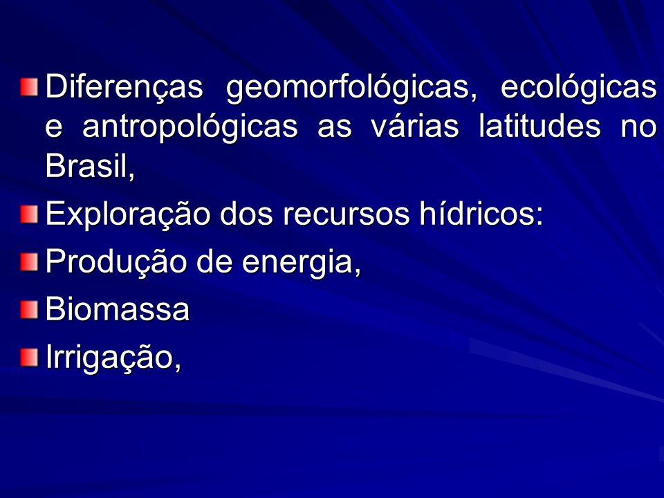 Diferenças geomorfológicas, ecológicas e antropológicas as várias latitudes no Brasil,