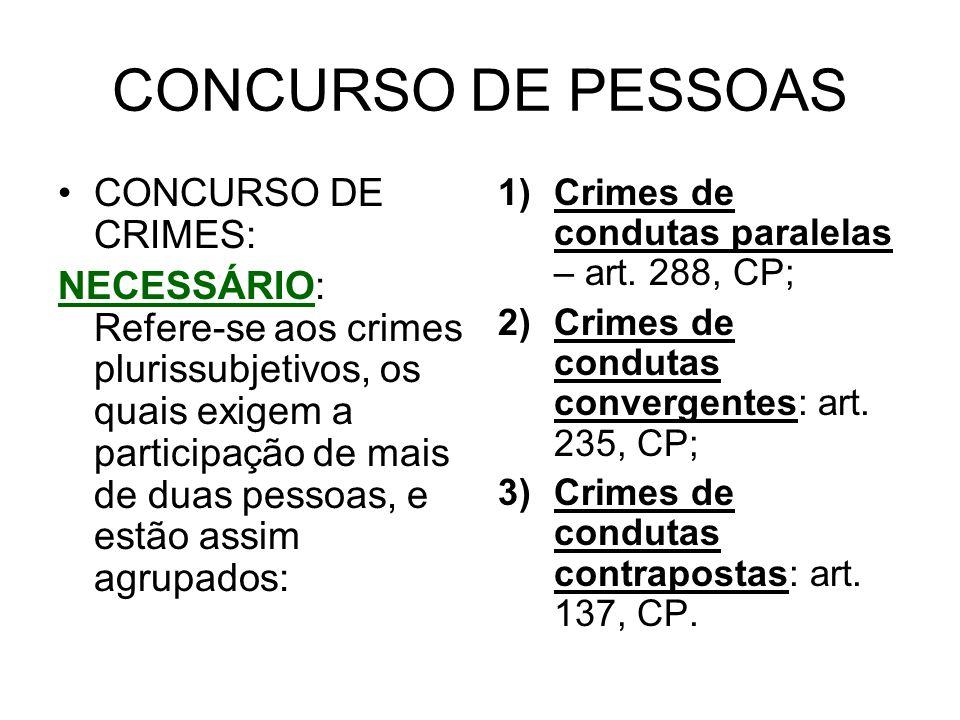 CONCURSO DE PESSOAS CONCURSO DE CRIMES: