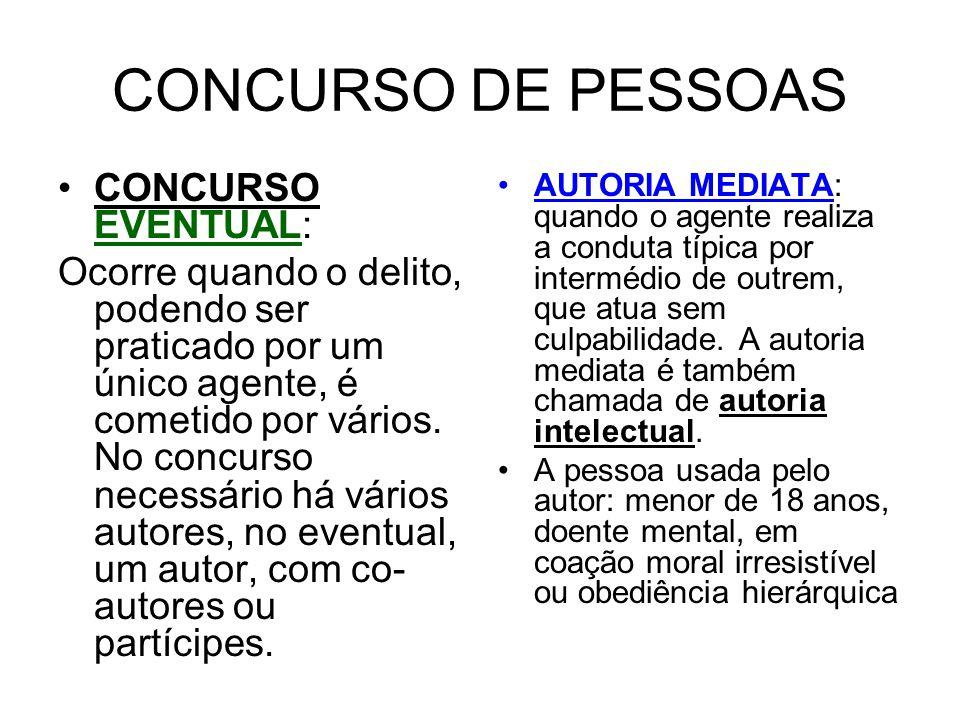 CONCURSO DE PESSOAS CONCURSO EVENTUAL: