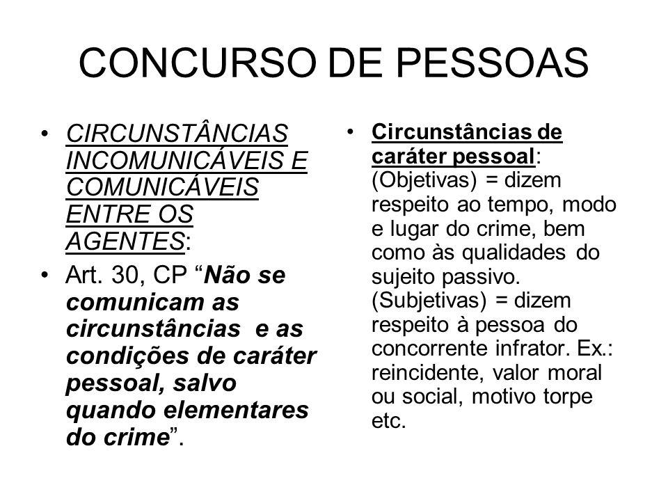 CONCURSO DE PESSOAS CIRCUNSTÂNCIAS INCOMUNICÁVEIS E COMUNICÁVEIS ENTRE OS AGENTES: