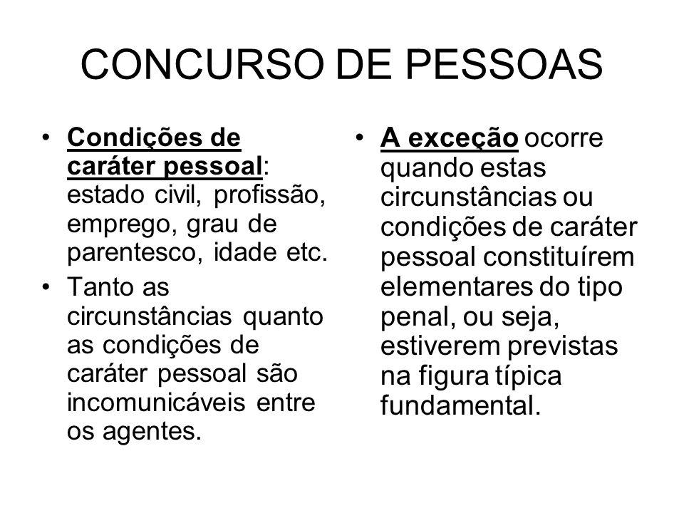 CONCURSO DE PESSOAS Condições de caráter pessoal: estado civil, profissão, emprego, grau de parentesco, idade etc.