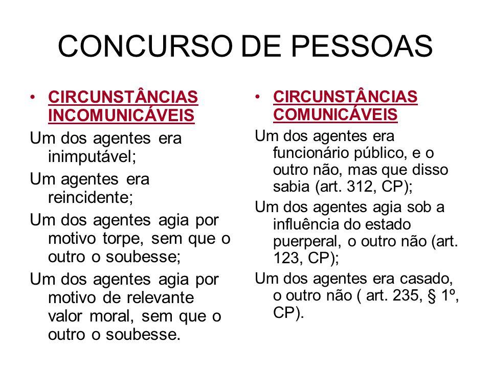 CONCURSO DE PESSOAS CIRCUNSTÂNCIAS INCOMUNICÁVEIS