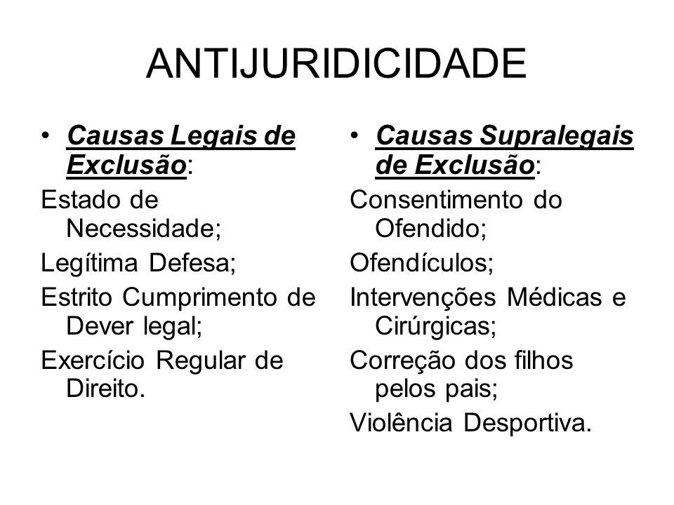 ANTIJURIDICIDADE Causas Legais de Exclusão: