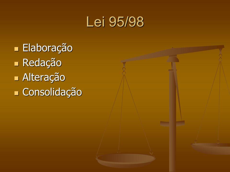 Lei 95/98 Elaboração Redação Alteração Consolidação