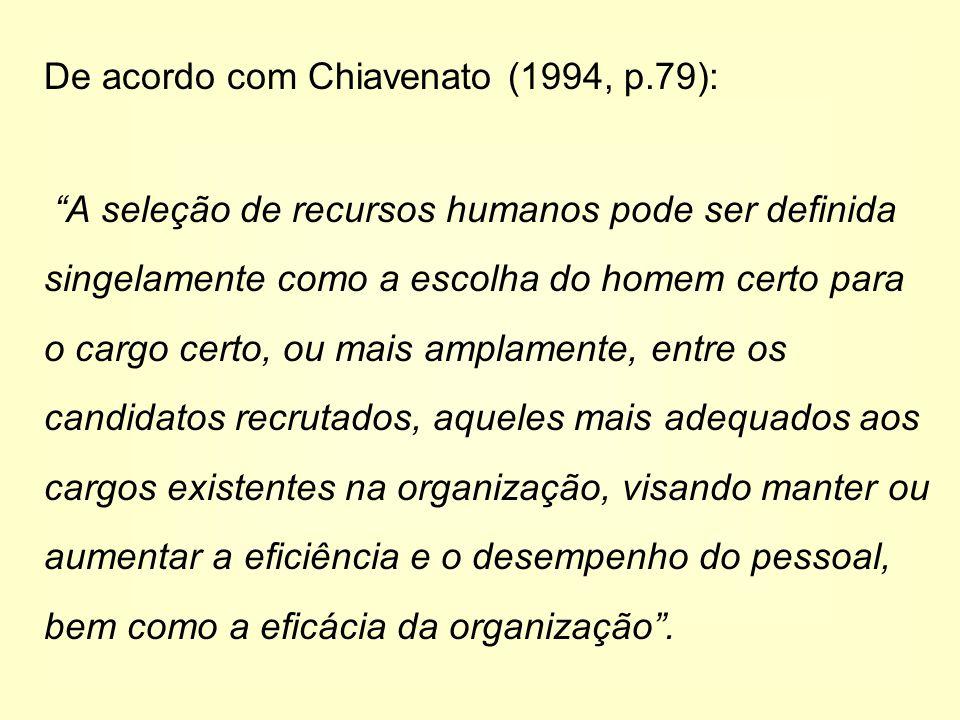De acordo com Chiavenato (1994, p.79):