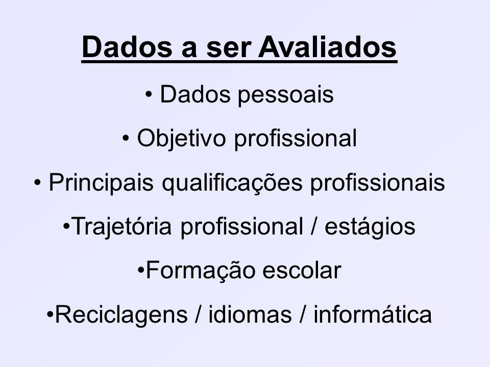 Dados a ser Avaliados Dados pessoais Objetivo profissional