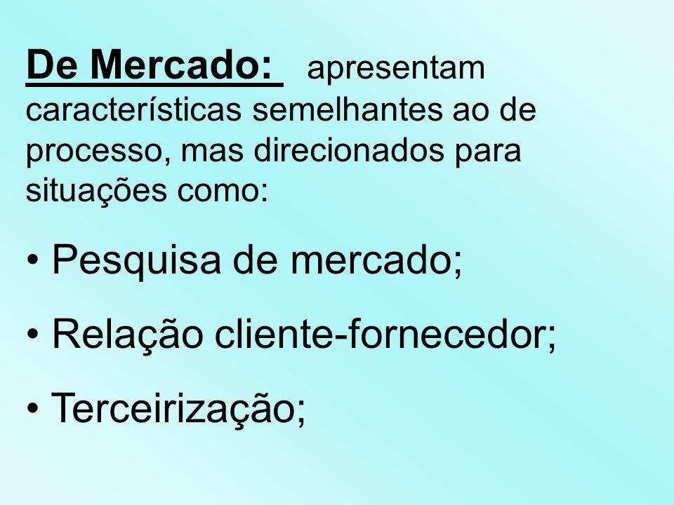 De Mercado: apresentam características semelhantes ao de processo, mas direcionados para situações como: