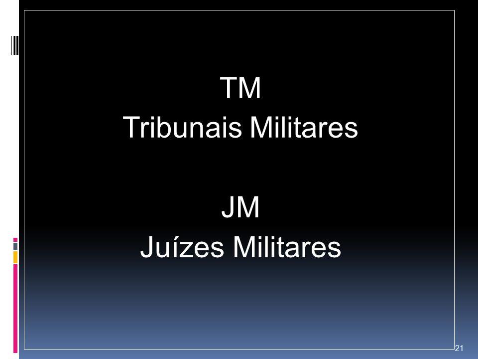 TM Tribunais Militares JM Juízes Militares