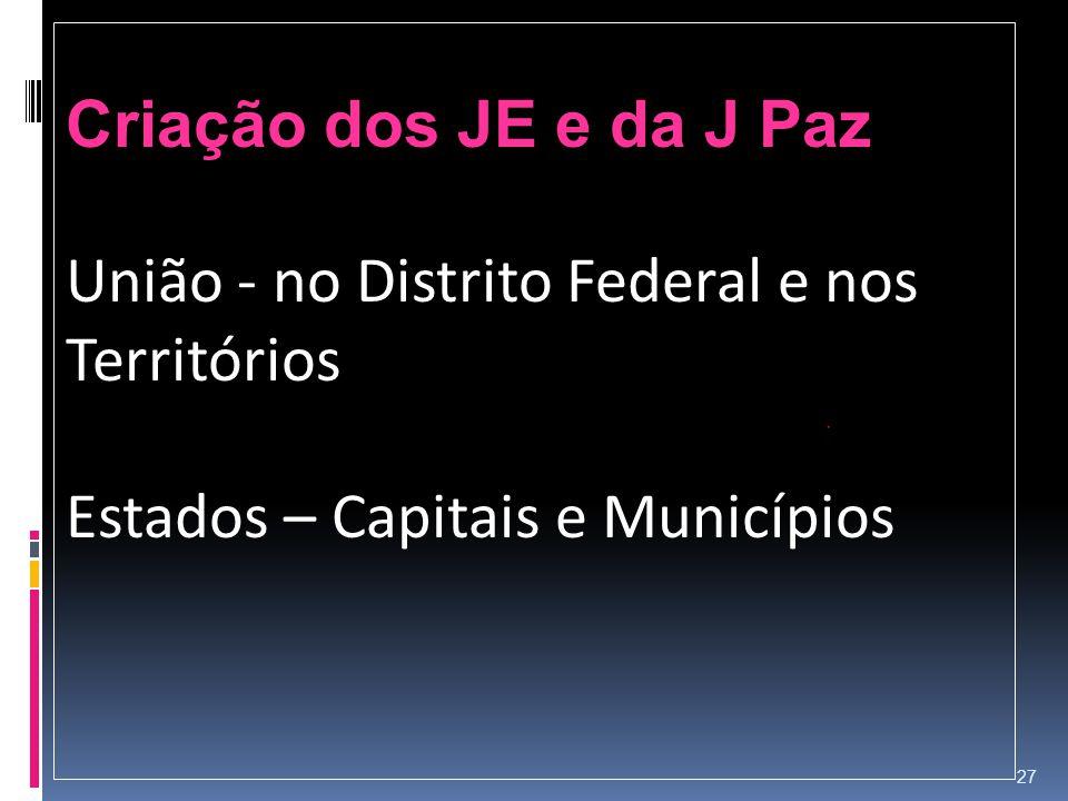 Criação dos JE e da J Paz União - no Distrito Federal e nos Territórios.