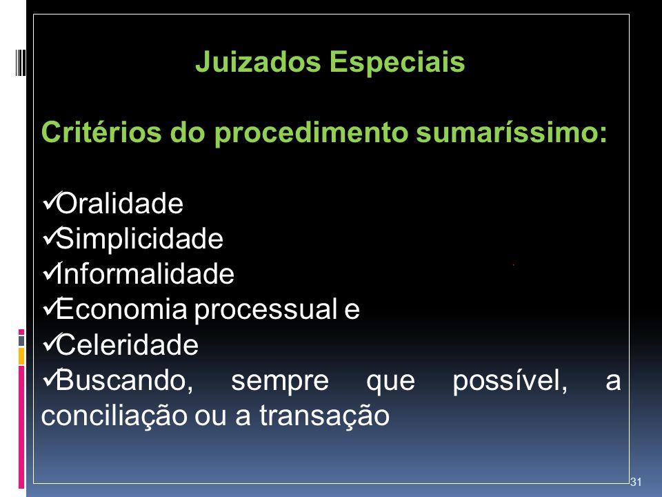 Juizados Especiais Critérios do procedimento sumaríssimo: Oralidade. Simplicidade. Informalidade.