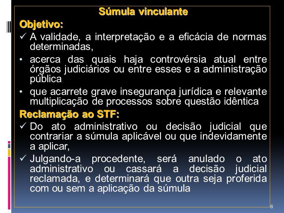 Súmula vinculante Objetivo: A validade, a interpretação e a eficácia de normas determinadas,