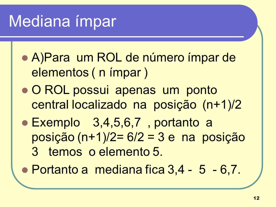 Mediana ímpar A)Para um ROL de número ímpar de elementos ( n ímpar )