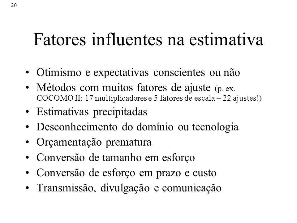 Fatores influentes na estimativa