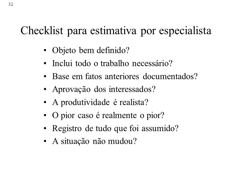 Checklist para estimativa por especialista