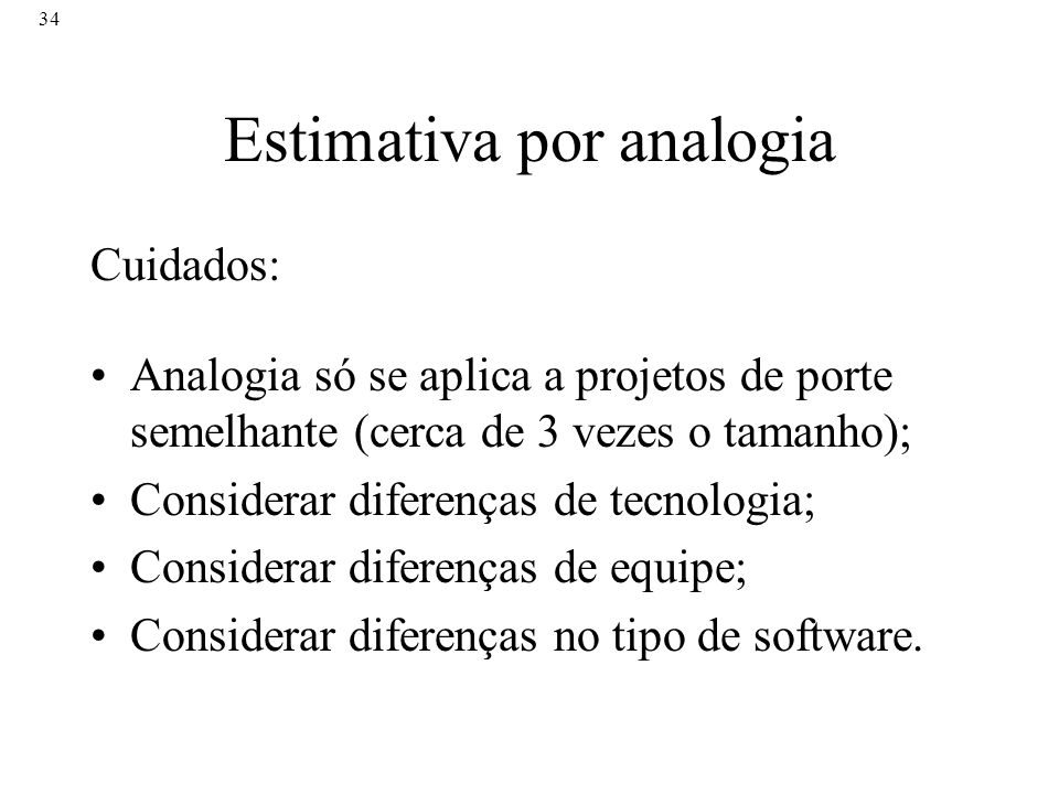 Estimativa por analogia