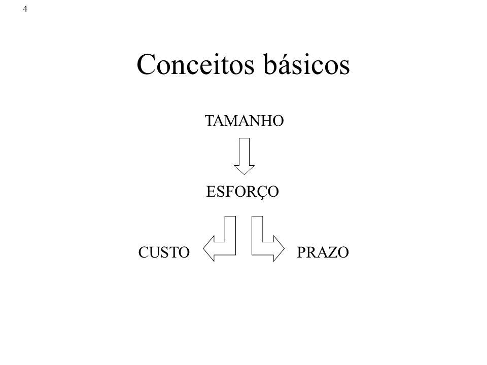 Conceitos básicos TAMANHO ESFORÇO CUSTO PRAZO