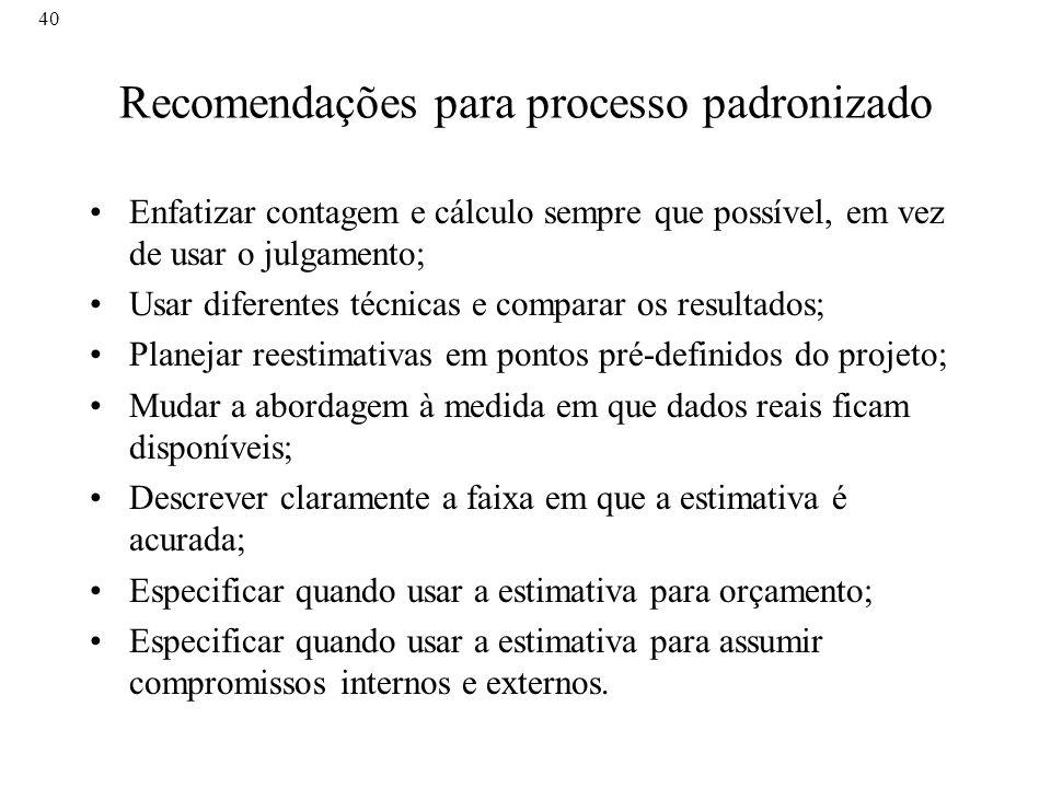 Recomendações para processo padronizado