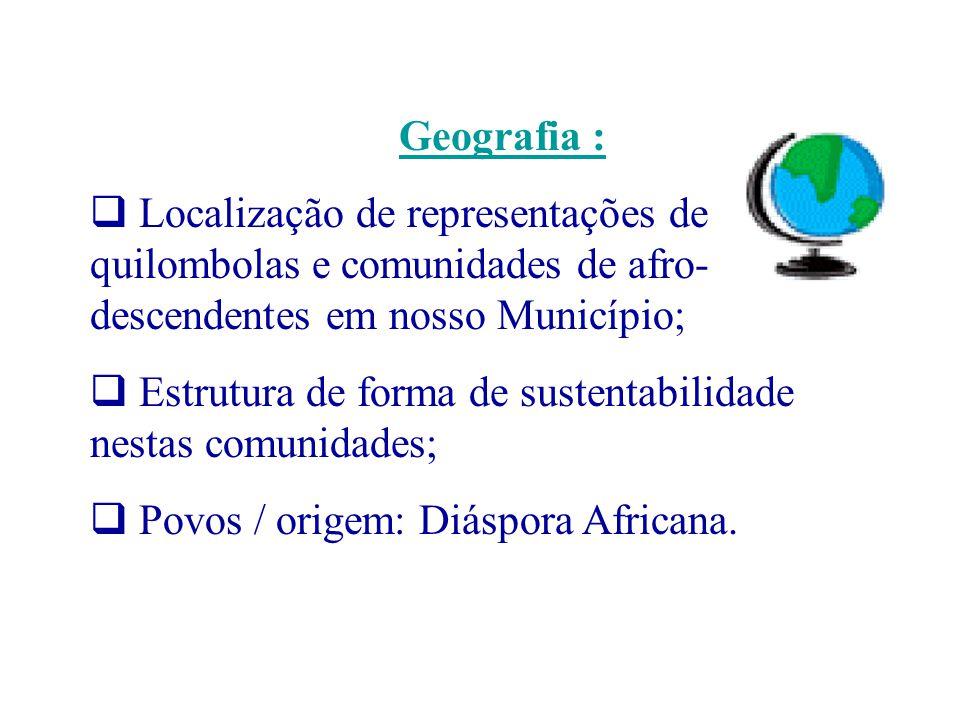 Geografia : Localização de representações de quilombolas e comunidades de afro-descendentes em nosso Município;