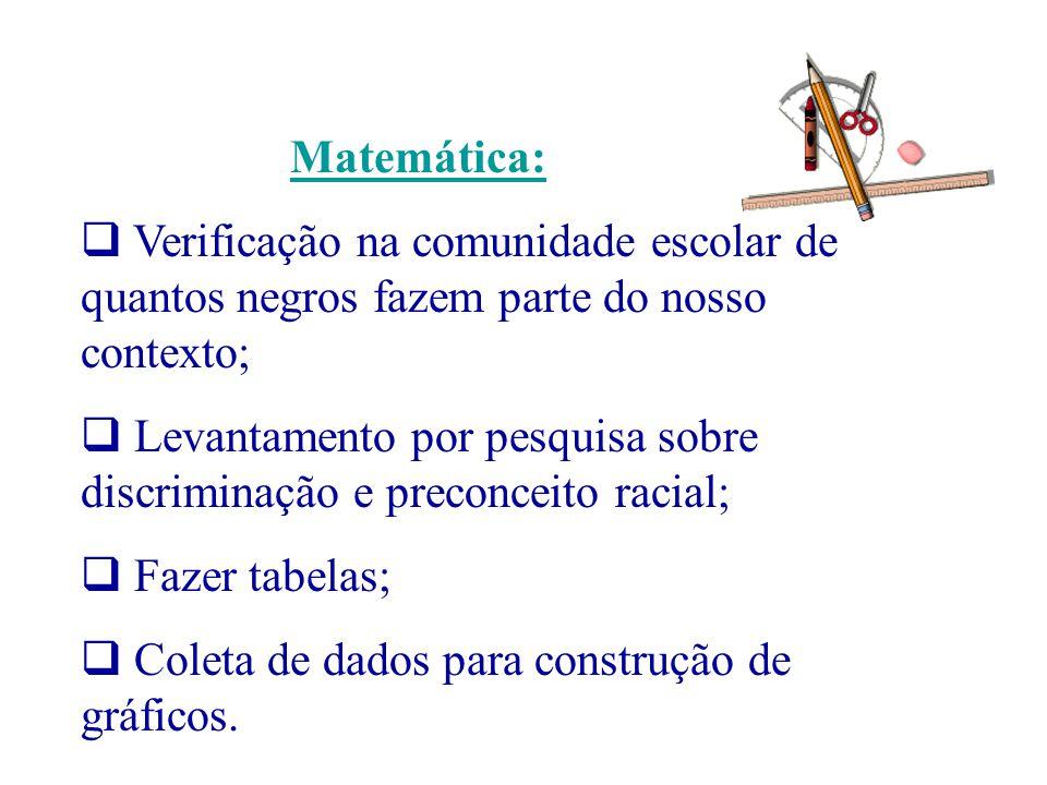 Matemática: Verificação na comunidade escolar de quantos negros fazem parte do nosso contexto;