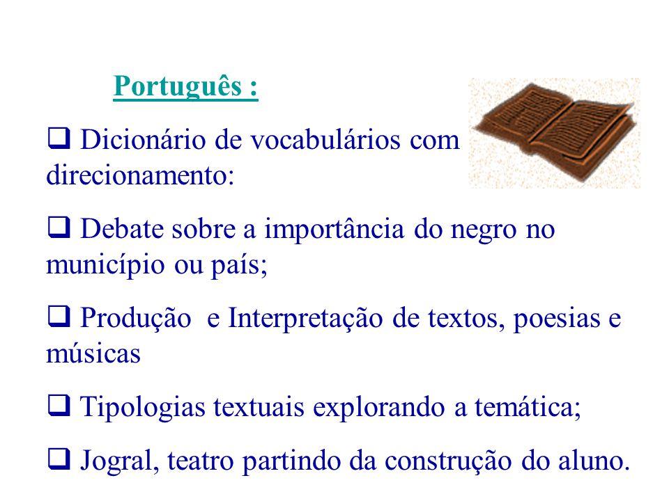 Português : Dicionário de vocabulários com direcionamento: Debate sobre a importância do negro no município ou país;