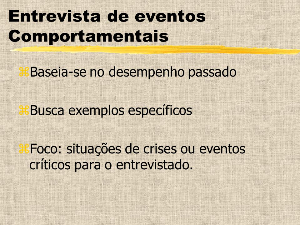Entrevista de eventos Comportamentais