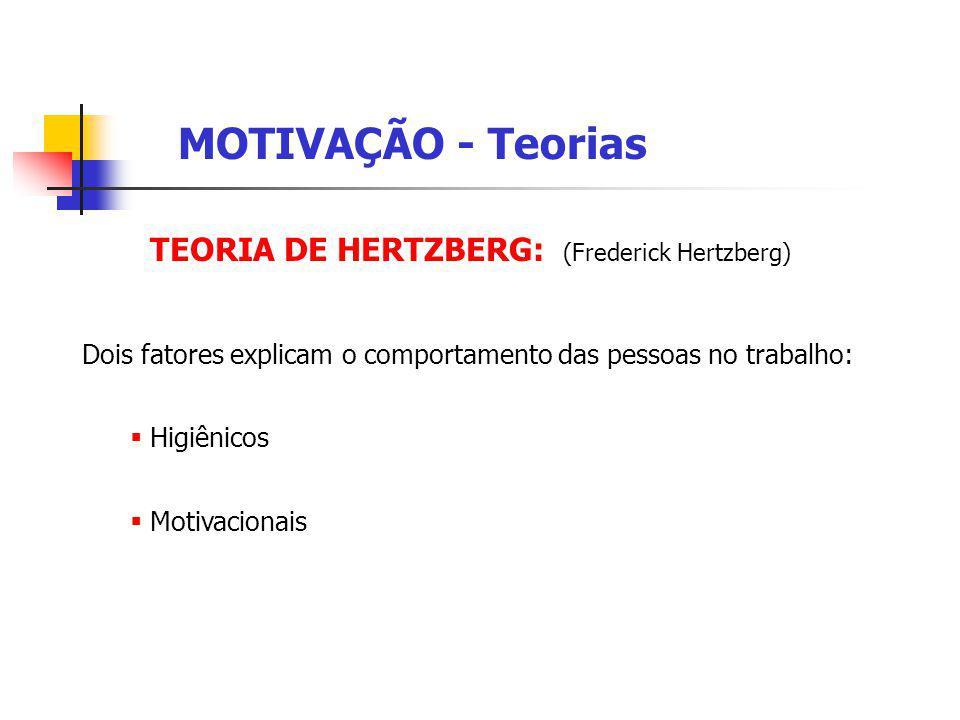 MOTIVAÇÃO - Teorias TEORIA DE HERTZBERG: (Frederick Hertzberg)