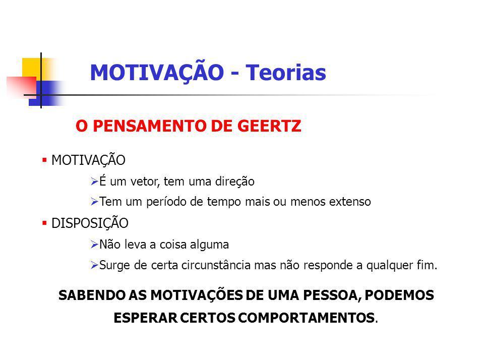 MOTIVAÇÃO - Teorias O PENSAMENTO DE GEERTZ MOTIVAÇÃO DISPOSIÇÃO