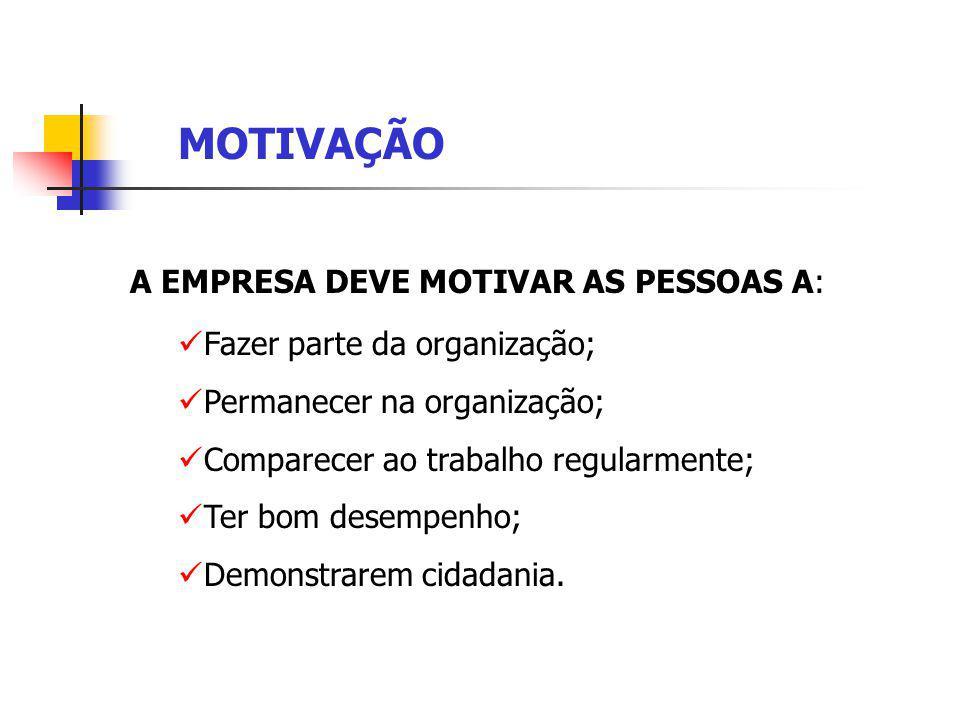 MOTIVAÇÃO A EMPRESA DEVE MOTIVAR AS PESSOAS A: