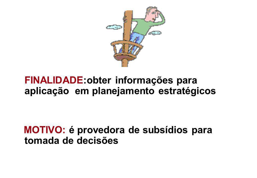 FINALIDADE:obter informações para aplicação em planejamento estratégicos