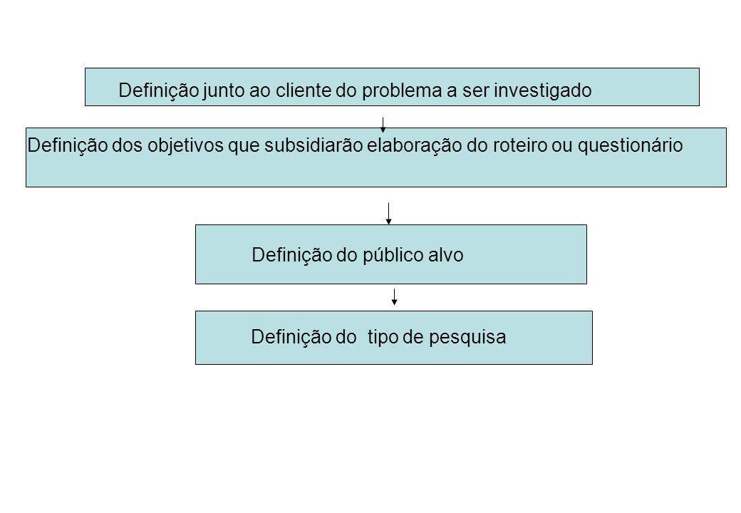 Definição junto ao cliente do problema a ser investigado