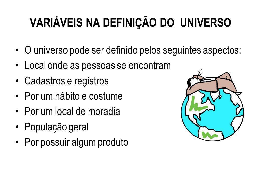 VARIÁVEIS NA DEFINIÇÃO DO UNIVERSO