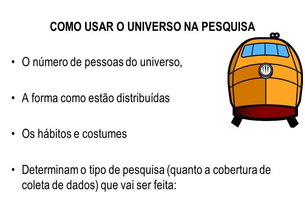 COMO USAR O UNIVERSO NA PESQUISA