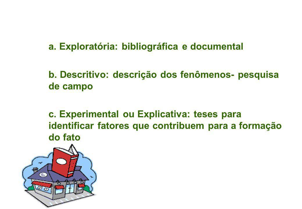 a. Exploratória: bibliográfica e documental