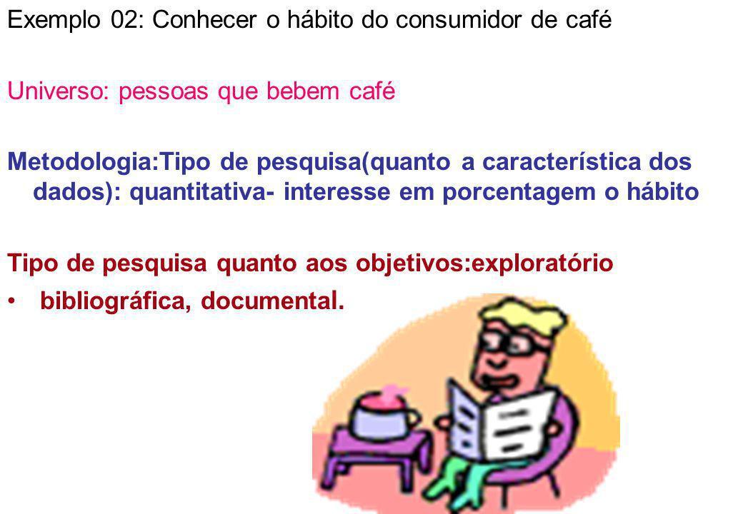 Exemplo 02: Conhecer o hábito do consumidor de café