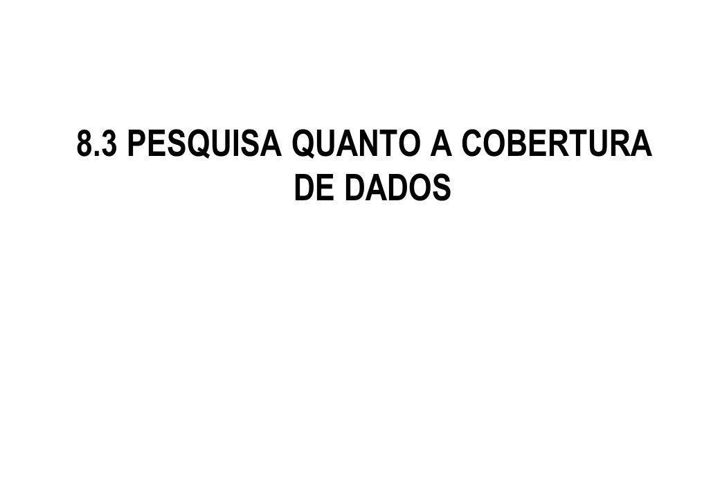 8.3 PESQUISA QUANTO A COBERTURA DE DADOS