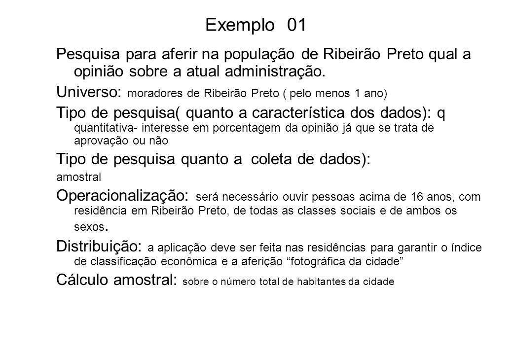 Exemplo 01 Pesquisa para aferir na população de Ribeirão Preto qual a opinião sobre a atual administração.