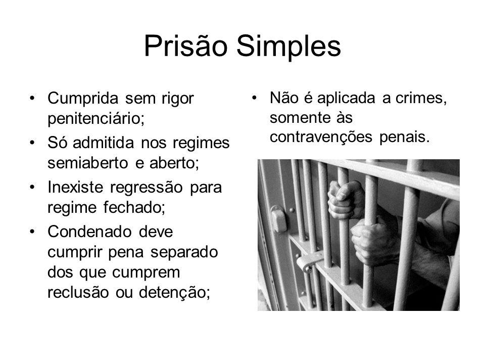 Prisão Simples Cumprida sem rigor penitenciário;